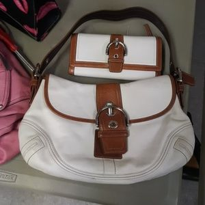 Vintage White leather Coach bag &matching wallet